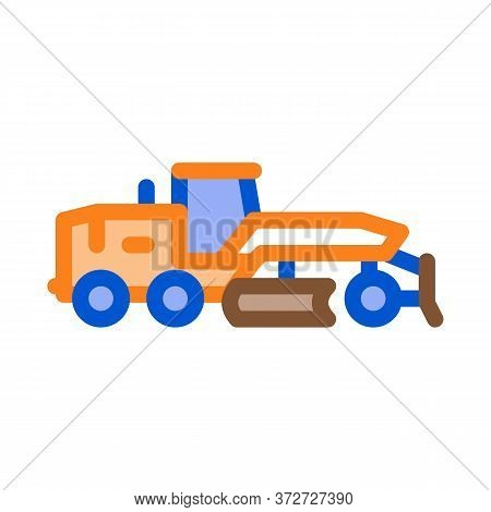 Road Repair Tractor Icon Vector. Road Repair Tractor Sign. Color Symbol Illustration