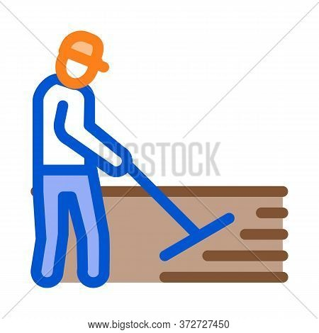 Worker Road Repair Icon Vector. Worker Road Repair Sign. Color Symbol Illustration