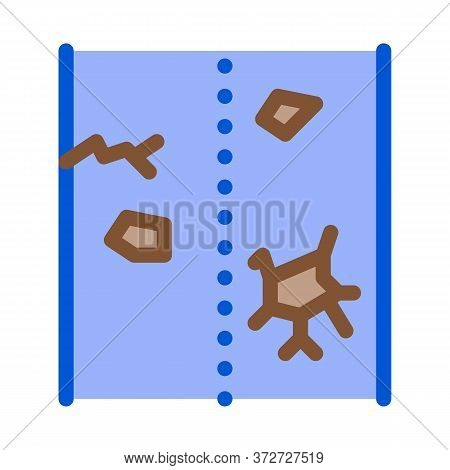 Broken Road Icon Vector. Broken Road Sign. Color Symbol Illustration