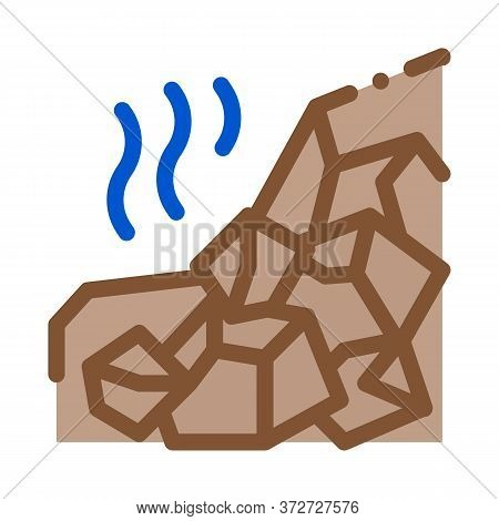 Mountain Collapse Icon Vector. Mountain Collapse Sign. Color Symbol Illustration