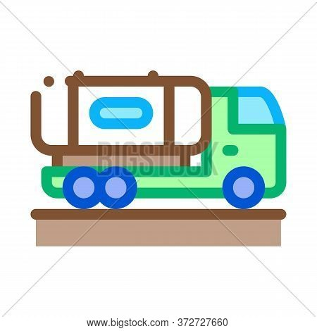 Juice Concentrate Delivering Truck Icon Vector. Juice Concentrate Delivering Truck Sign. Color Symbo