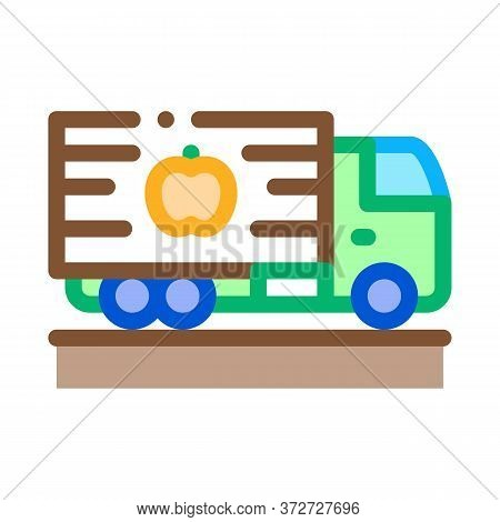 Fruit Delivering Cargo Icon Vector. Fruit Delivering Cargo Sign. Color Symbol Illustration