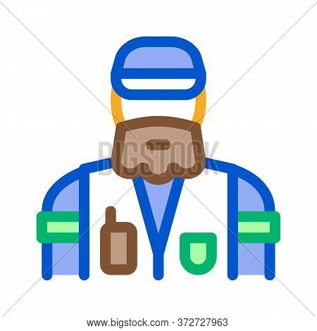 Forester Man Icon Vector. Forester Man Sign. Color Symbol Illustration