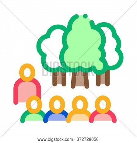 People Visit Forest Icon Vector. People Visit Forest Sign. Color Symbol Illustration