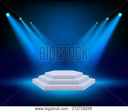 Spot Lighting Podium. Theatre Studio Awards Platform Exhibition Floor Geometrical Stages Vector Back