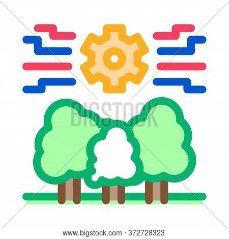 Forestry Mechanical Gear Icon Vector. Forestry Mechanical Gear Sign. Color Symbol Illustration
