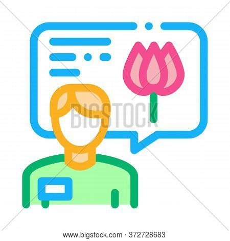 Flower Shop Seller Consultant Icon Vector. Flower Shop Seller Consultant Sign. Color Symbol Illustra