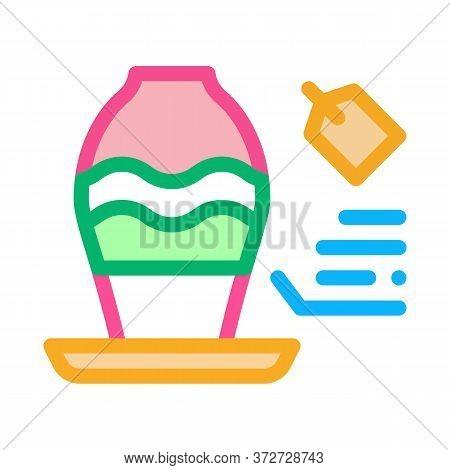 Flower Shop Selling Vase Icon Vector. Flower Shop Selling Vase Sign. Color Symbol Illustration