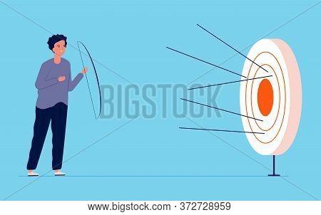 Unattainable Goal Metaphor. Guy Missed Center Of Target, Failure Vector Illustration. Unattainable G