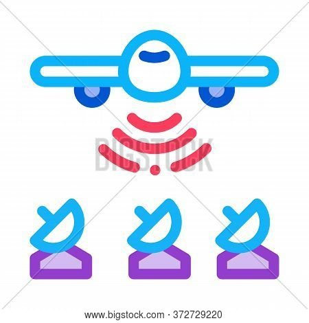 Air Plane Radar Signal Icon Vector. Air Plane Radar Signal Sign. Color Symbol Illustration