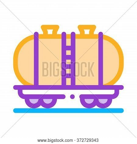 Oil Product Carriage Wagon Icon Vector. Oil Product Carriage Wagon Sign. Color Symbol Illustration