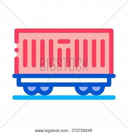 Carriage Container Transportation Icon Vector. Carriage Container Transportation Sign. Color Symbol