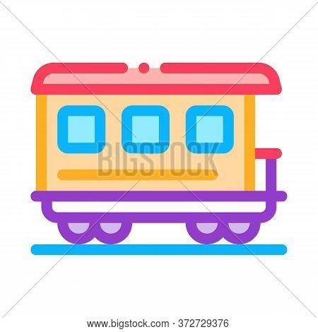 Passenger Railway Carriage Icon Vector. Passenger Railway Carriage Sign. Color Symbol Illustration