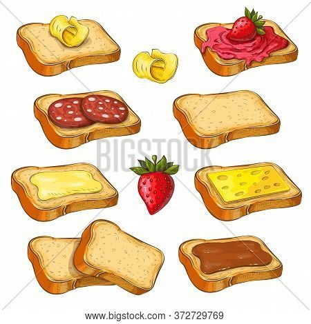 Set Of Different Toasts With Various Topping Isolated On White. Collection Of Wheat Sandwiches Vecto