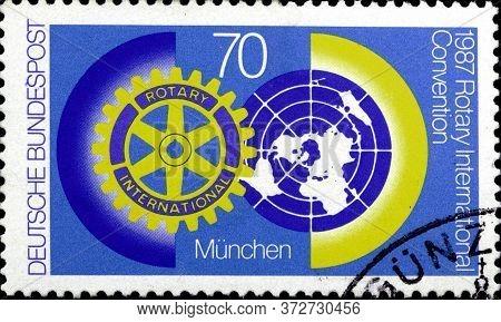 02 10 2020 Divnoe Stavropol Krai Russia The Postage Stamp Germany 1987 The International Annual Rota