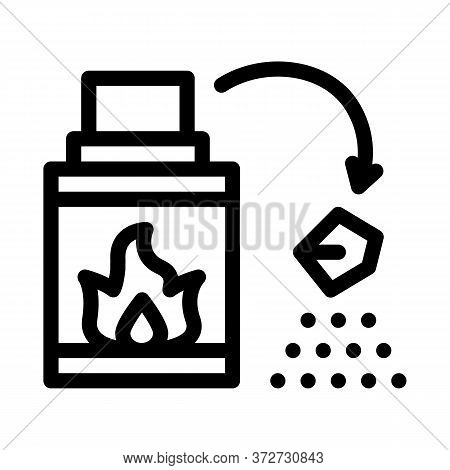 Fireplace Fire Icon Vector. Fireplace Fire Sign. Isolated Contour Symbol Illustration