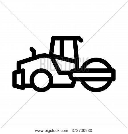 Road Repair Pavering Tractor Icon Vector. Road Repair Pavering Tractor Sign. Isolated Contour Symbol