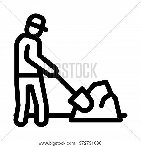 Worker Digging Icon Vector. Worker Digging Sign. Isolated Contour Symbol Illustration