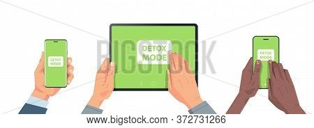 Human Hands Holding Digital Devices With Detox Mode On Screen Abandoning Internet And Social Network