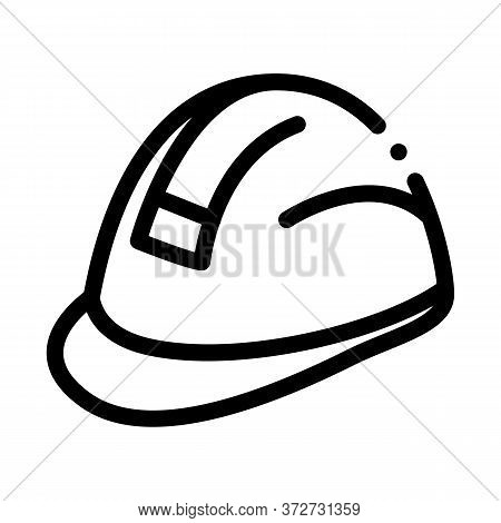 Builder Heavy Helmet Icon Vector. Builder Heavy Helmet Sign. Isolated Contour Symbol Illustration