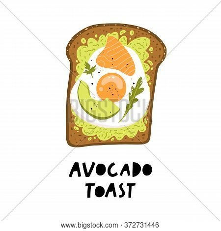Avocado Toast. Fresh Toasted Bread With Slices Of Ripe Avocado, Fried Egg And Salmon.