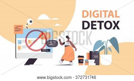 Woman Making Stop Gesture With Palm Digital Detox Concept Girl Abandoning Internet And Social Networ