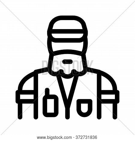 Forester Man Icon Vector. Forester Man Sign. Isolated Contour Symbol Illustration