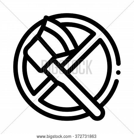 Crossed Out Ax Icon Vector. Crossed Out Ax Sign. Isolated Contour Symbol Illustration