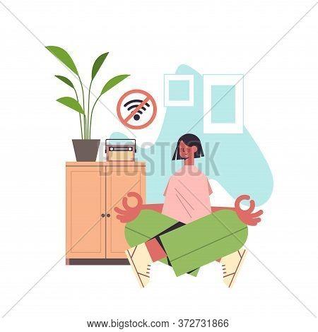 Woman Sitting Lotus Pose And Meditating Digital Detox Offline Activities Concept Girl Spending Time