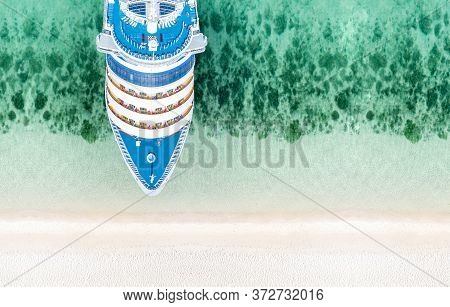 Aerial Top View Of Beautiful White Cruise Ship  Luxury Cruise At The Sea Beach Concept Tourism Trave
