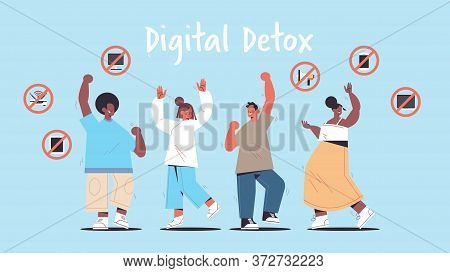Mix Race People Having Fun Gadgets In Prohibition Signs Digital Detox Offline Activities Concept Aba