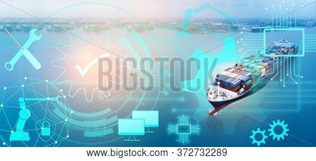 Aerial Of Cargo Ship Carrying Container With Line Maintenance Technology Concept  From  Cargo Yard P
