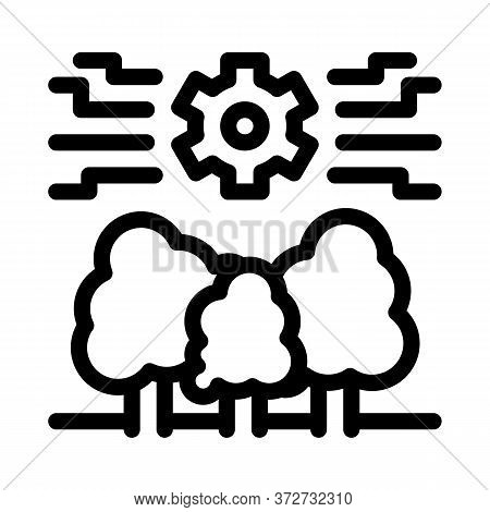 Forestry Mechanical Gear Icon Vector. Forestry Mechanical Gear Sign. Isolated Contour Symbol Illustr