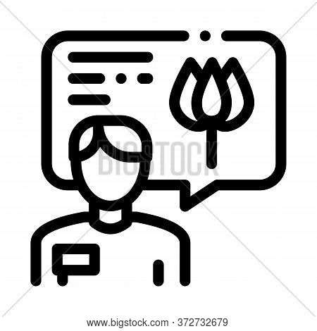 Flower Shop Seller Consultant Icon Vector. Flower Shop Seller Consultant Sign. Isolated Contour Symb