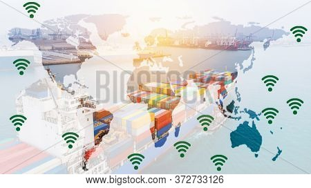 Cargo Container Ship Import And Export Big Tank Around The Logistic World Transport Shipping By Sea.