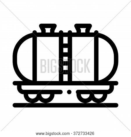 Oil Product Carriage Wagon Icon Vector. Oil Product Carriage Wagon Sign. Isolated Contour Symbol Ill