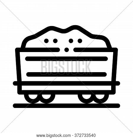 Railway Carriage Sand Transportation Icon Vector. Railway Carriage Sand Transportation Sign. Isolate