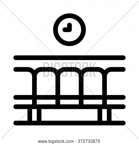 Railway Station Waiting Seats Icon Vector. Railway Station Waiting Seats Sign. Isolated Contour Symb