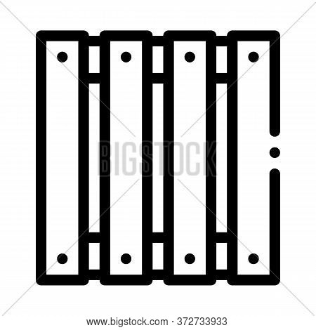 Wooden Fence Icon Vector. Wooden Fence Sign. Isolated Contour Symbol Illustration