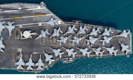 Military Navy Ship Carrier Full Loading Fighter Jet Aircraft For New War.