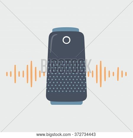 Smart Speaker And Soundwave. Home Personal Voice Assistant. Hand Drawn Vector Illustration