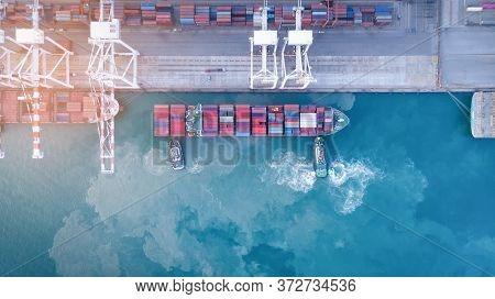 Trug Ship Drag Container Ship Vessel   To Cargo International Container Yard Port Concept Shipping B