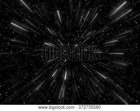3D render of a hyperspace background with warp tunnel effect
