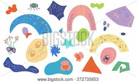 Set Of Abstract And Surreal Shapes And Forms. Colorful Collection Of Elements For Design. Vector Han