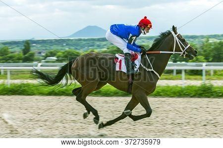 Pyatigorsk,russia - June 21,2020:horse Race For Of The Kuban River Prize Of Pyatigorsk Hippodrome.ah