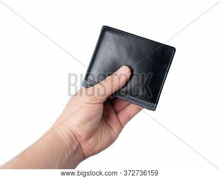 Close Up Male Hands Holding  The Wallet Or Purse With  Money  On Isolated White Background.