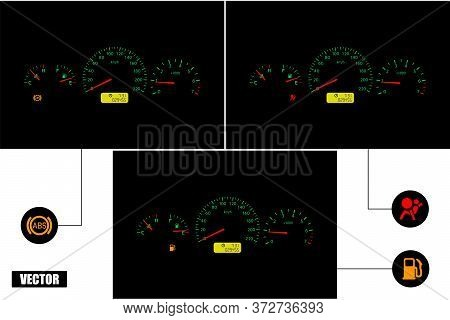Car Dashboard With Indicators: Abs, Airbag, Fuel. A Set Of Three Panels. Realistic. Vector.
