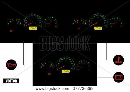 Car Malfunction Indicators: Oil Pressure, Coolant Temperature, Battery Charge. A Set Of Three Panels