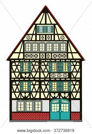 Historic Townhouse From The Middle Ages.  Medieval Building With Many Elaborate Details From Europe.