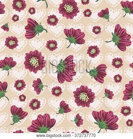 Pink Flower Heads And Hearts Seamless Vector Pattern. Romantic Surface Print Design For Valentine Pa